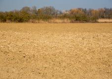 被耕的土壤在早期的春天 免版税库存图片