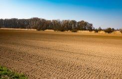 被耕的土壤在早期的春天 图库摄影
