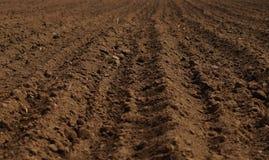 被耕的领域在为播种准备的春天 免版税库存照片