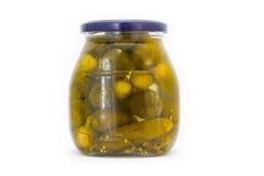 被腌制的黄瓜瓶子 免版税库存图片