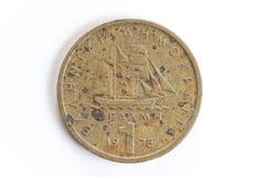 被腐蚀的希腊onr德拉克马硬币 库存照片