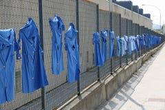 被舒展的蓝色衬衣 库存图片