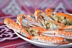 被蒸的蓝色游水螃蟹 免版税库存照片