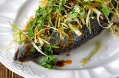 被蒸的鱼和在立即可食白色服务的板材装饰 免版税库存图片