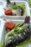 被蒸的鱼在市场上 图库摄影