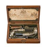 被装入的对燧发枪手枪老葡萄酒和原物 免版税图库摄影