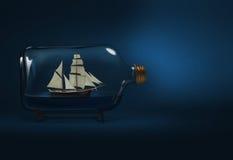 被装瓶的船 库存照片