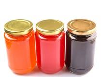 被装瓶的蓝莓,草莓,橙色果酱VI 免版税图库摄影