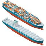 被装载的集装箱船和倒空,等量象集合 库存例证
