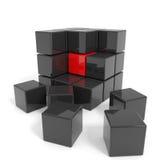 被装配的黑色核心多维数据集红色 向量例证