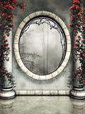 被装饰的窗口和专栏 免版税图库摄影