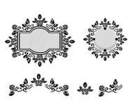 被装饰的镜子或照片框架 向量背景 免版税库存照片