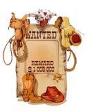 被要的西部葡萄酒海报 免版税图库摄影