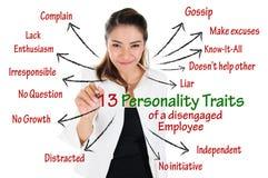 被解开的雇员个性特征  免版税库存图片
