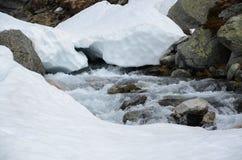 被解冻的雪 免版税库存照片