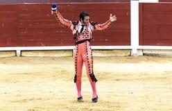 被触怒的公牛侵袭斗牛士 西班牙2017 07 25 2017年 Vinaros巨大的Corrida de toros 西班牙斗牛 库存图片