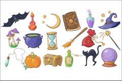 被设置的万圣节、魔术和咒语标志,巫术师帽子,不可思议的书,魔药,笤帚,水晶球,胸口,滴漏,南瓜 皇族释放例证
