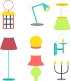 被设置的不同的闪亮指示 家具和落地灯和台灯 免版税库存图片