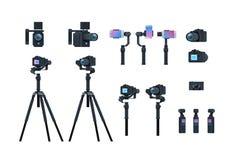 被设置的专业照相机设备动力化常平架安定器三脚架金属建筑采取照片电影或录影 库存例证