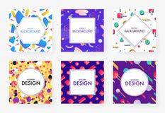 被设置的五颜六色的几何盖子 免版税库存图片