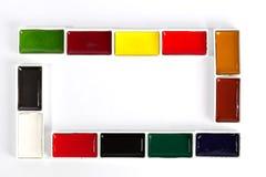 被设置的五颜六色的坚实水彩平底锅 免版税图库摄影