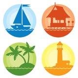被设置的五颜六色的夏天旅行象 库存图片
