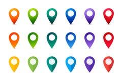 被设置的五颜六色的映射标记 汇集平和现实尖 免版税库存图片