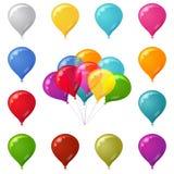 被设置的五颜六色的欢乐气球 免版税库存图片