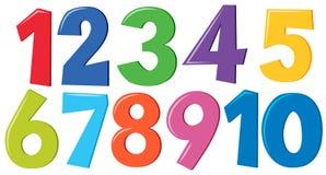 被设置的五颜六色的编号 向量例证
