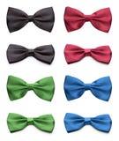 被设置的五颜六色的蝶形领结 免版税库存图片