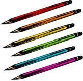 被设置的五颜六色的被画的现有量铅笔 免版税库存照片