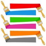 被设置的五颜六色的画笔横幅 库存图片