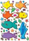 被设置的五颜六色的eps鱼 免版税库存图片