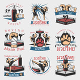 被设置的五颜六色的Kickboxing象征 库存例证