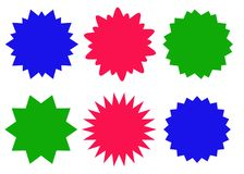 被设置的五颜六色的starburst象,镶有钻石的旭日形首饰的徽章 库存照片