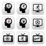 被设置的人爱恋的橄榄球或足球按钮 库存照片