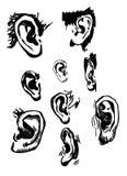 被设置的人的耳朵 现实手拉的传染媒介 图库摄影
