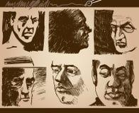 被设置的人面孔艺术性的图画 向量例证