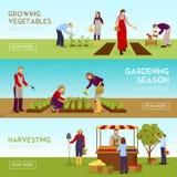被设置的从事园艺的季节水平的横幅 向量例证
