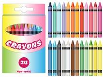 被设置的传染媒介例证五颜六色的蜡笔 库存照片