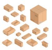 被设置的传染媒介另外大小等量箱子 有文字的开放和闭合的空的邮局邮件运送箱,酒吧 库存照片