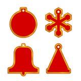 被设置的传染媒介圣诞节空白红色销售标记 球,雪花,响铃,帽子 圣诞快乐和新年快乐设计元素 皇族释放例证