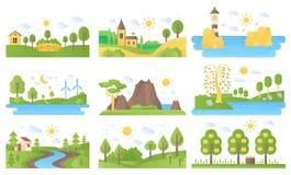 被设置的传染媒介微型风景象 生态自然和旅行 湖和河、海和太阳、山和灯塔 皇族释放例证