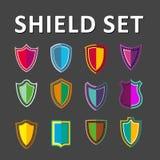 被设置的传染媒介五颜六色的盾 图库摄影