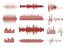 被设置的传染媒介声波 音频调平器技术,搏动音乐会 图库摄影