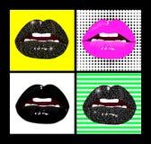 被设置的传染媒介女性嘴唇 塑造在流行艺术,减速火箭的样式的补丁元素 明亮的背景和美丽的光泽嘴唇  向量例证