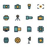 被设置的传染媒介平的照相机象 免版税库存图片