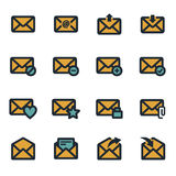 被设置的传染媒介平的电子邮件象 库存图片