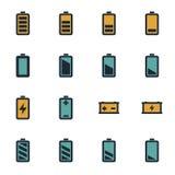 被设置的传染媒介平的电池象 免版税库存图片