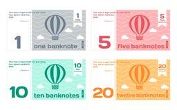 被设置的传染媒介抽象逗人喜爱的颜色钞票模板 免版税库存图片